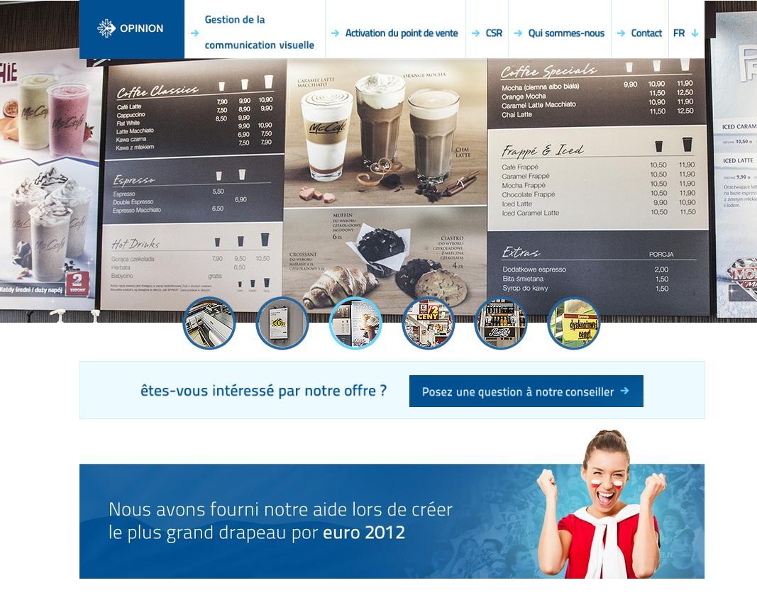 Strona internetowa dla Opinion w wersji francuskiej