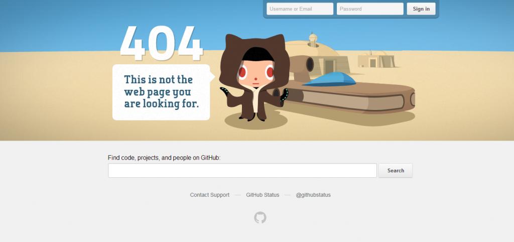 Przykład strony 404 - github.com