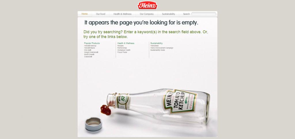 Przykład strony 404 - heinz.com