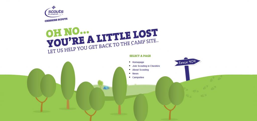 Przykład strony 404 - eshirescouts.org.uk