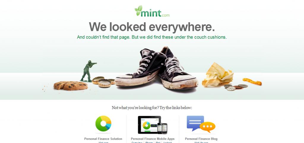 Przykład strony 404 - mint.com