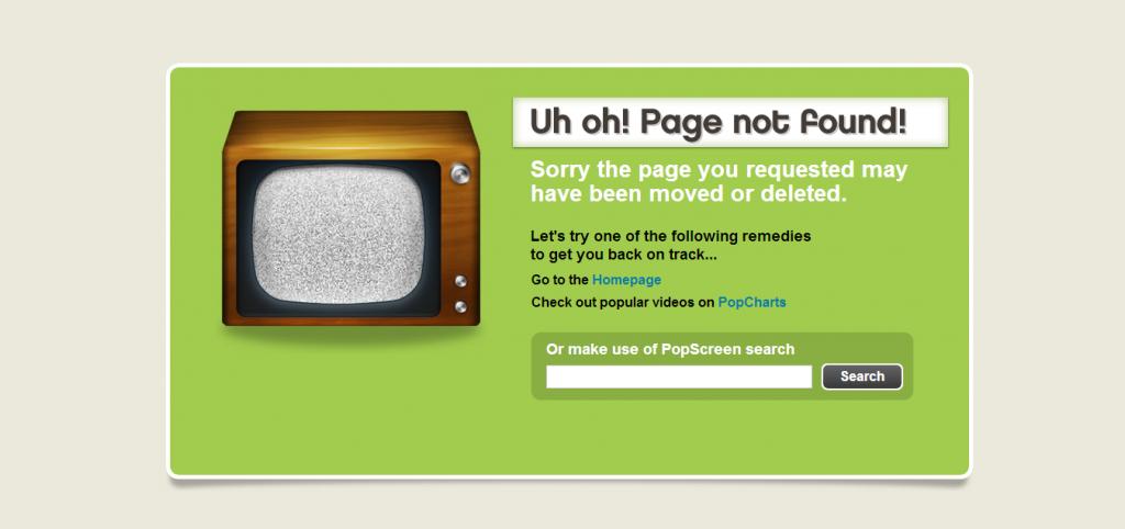 Przykład strony 404 - popscreen.com